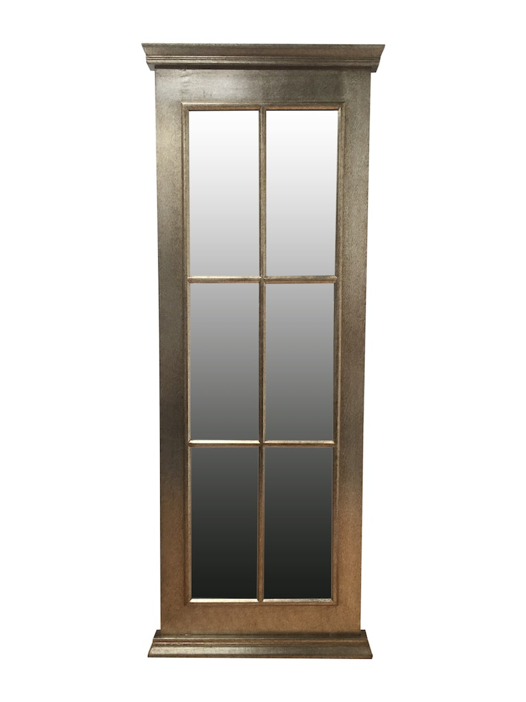 Window Mirror with 6 Glass Panels in Antiqued Silver Frame