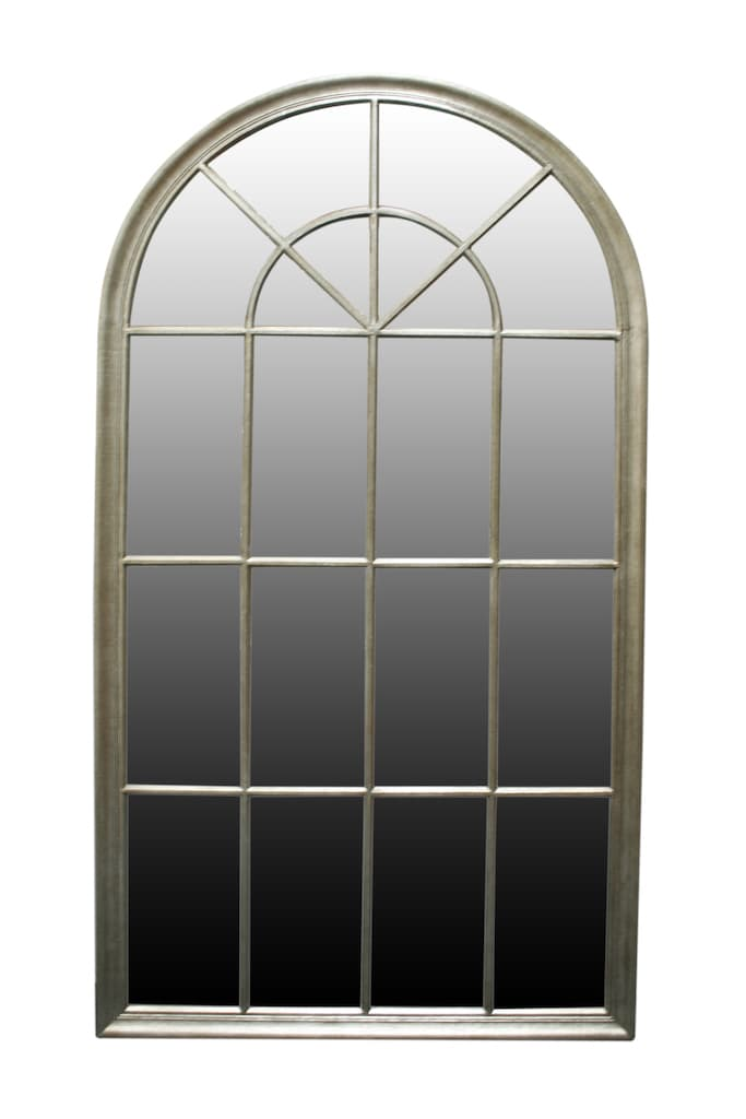 Oval Top Window Mirror in Silver Frame