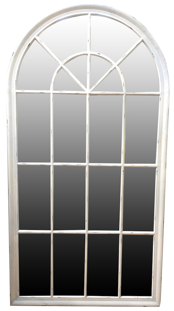 Window Mirror in Antiqued White Frame