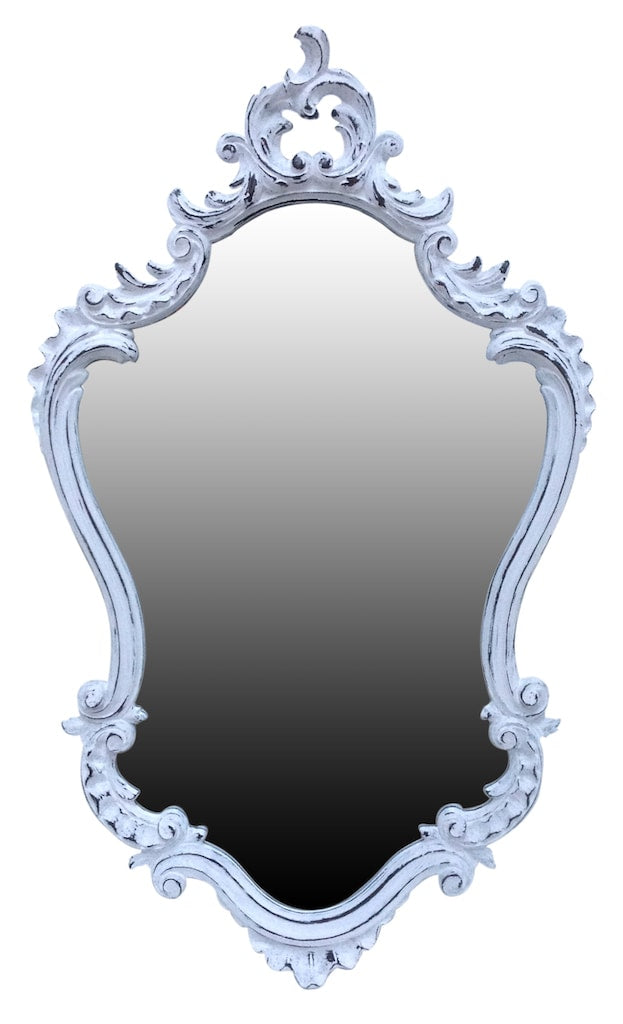 French Style Ornate Wall Mounted Mirror with White Frame