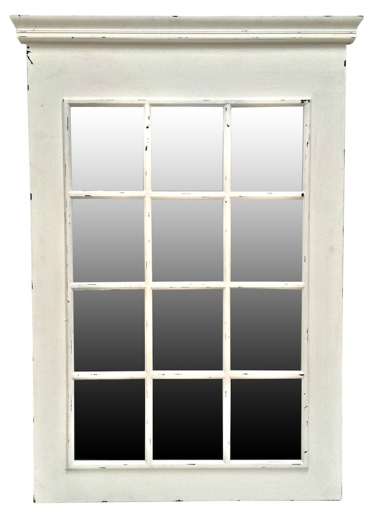 Rectangle Window Mirror in Rubbed White Frame