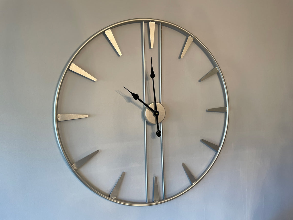 Analogue Metal Skeleton Wall Clock in Antiqued Silver