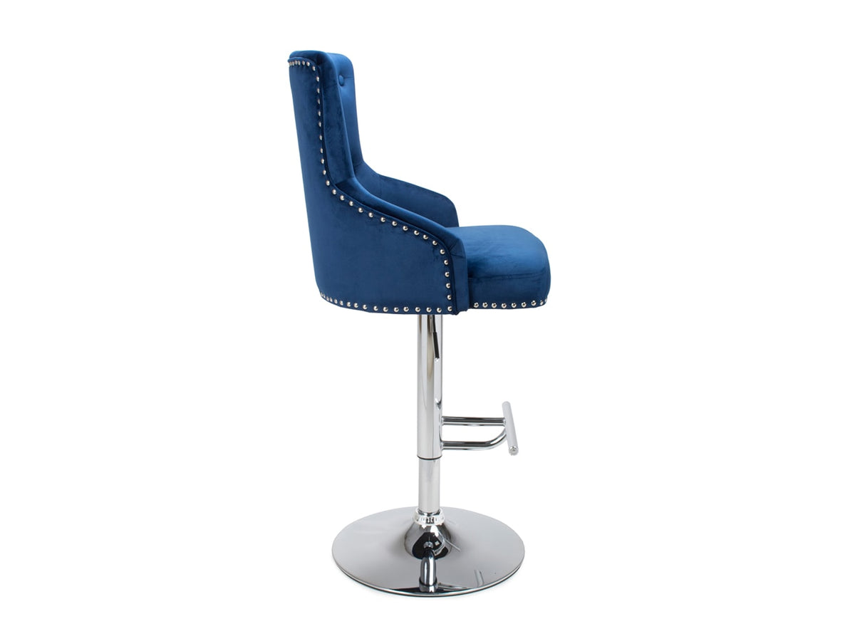 Bar Stool in Blue Velvet Upholstery with Chrome base, stand and footrest