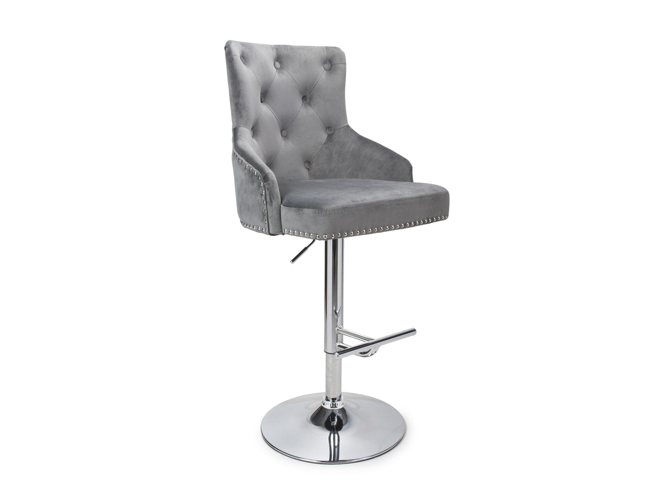 Bar Stool in Grey Brushed Velvet Upholstery