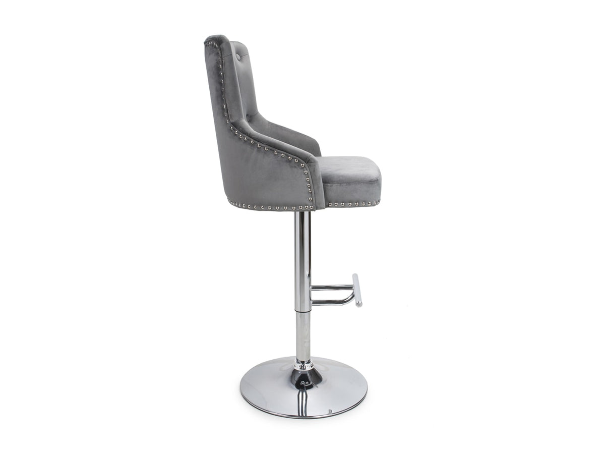 Grey Bar Stool on a polished chrome stand with footrest