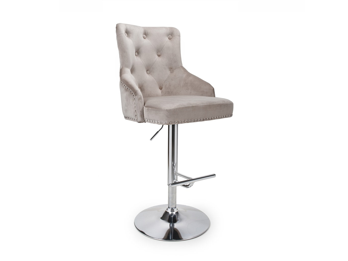 Bar stool in mink velvet upholstery, buttoned back and chrome base