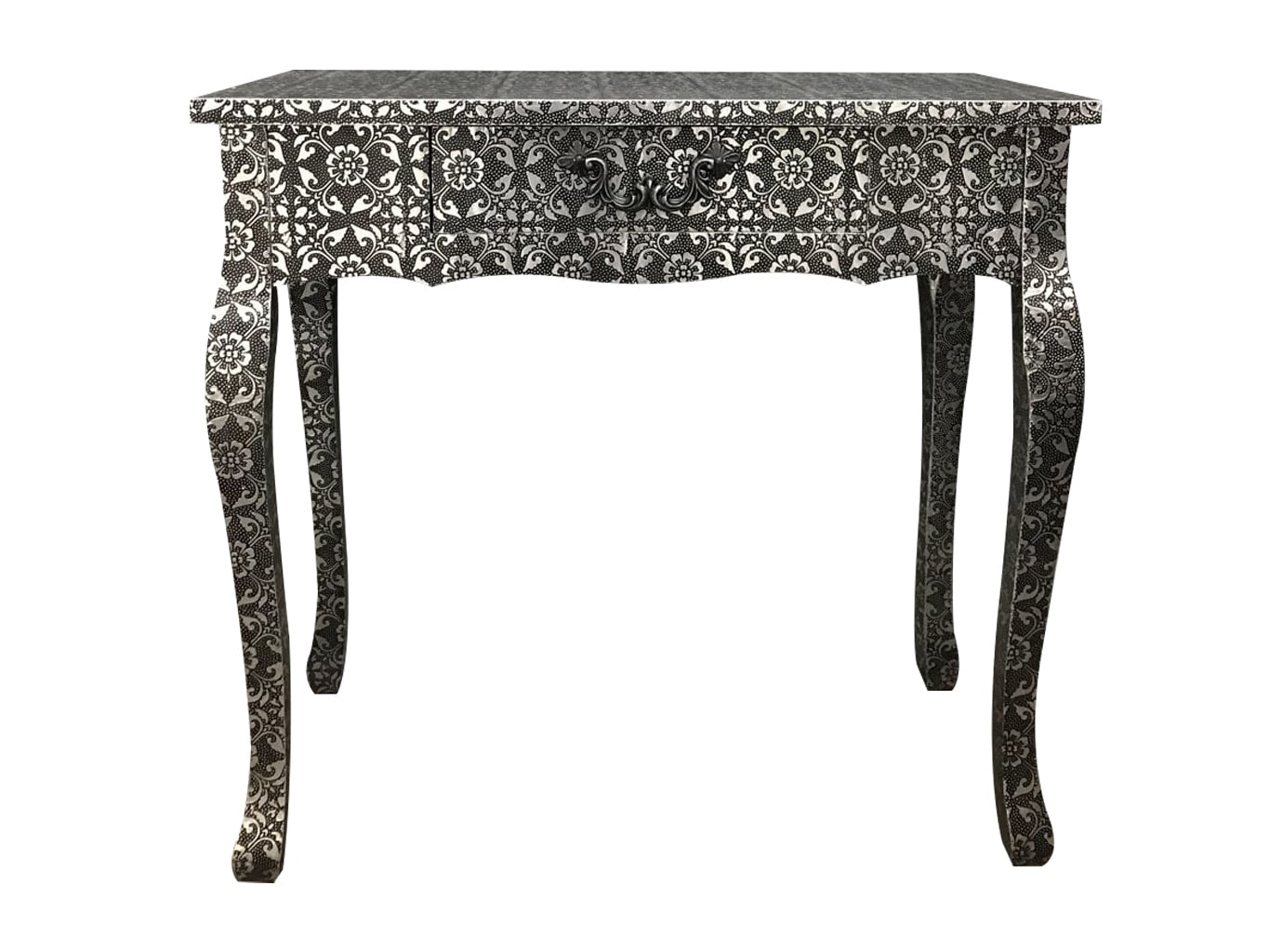 Black console table repousse finish with hammered metal