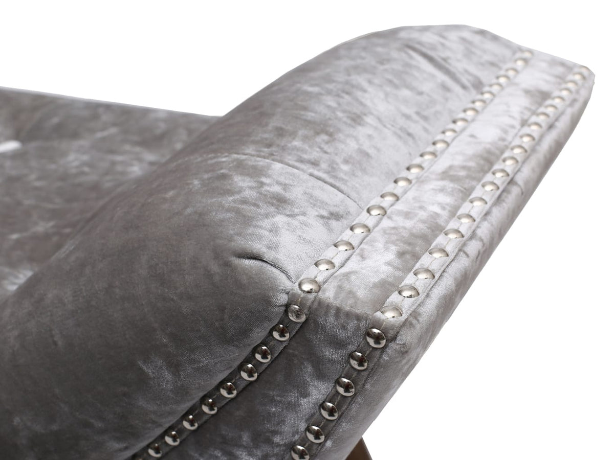 Chaise Longue Bench in grey brushed velvet finish and chrome studs