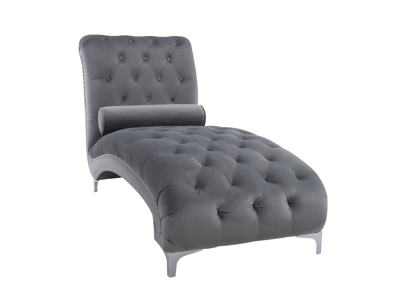 Chaise Lounge in Grey velvet Upholstery