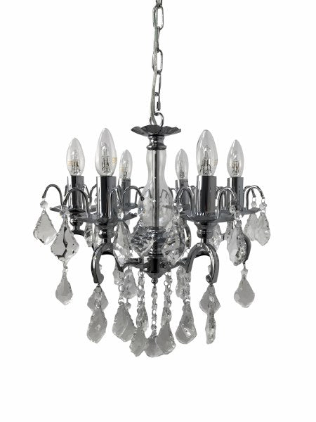Chandelier with 6 branches featuring chrome frame and crystal droplets