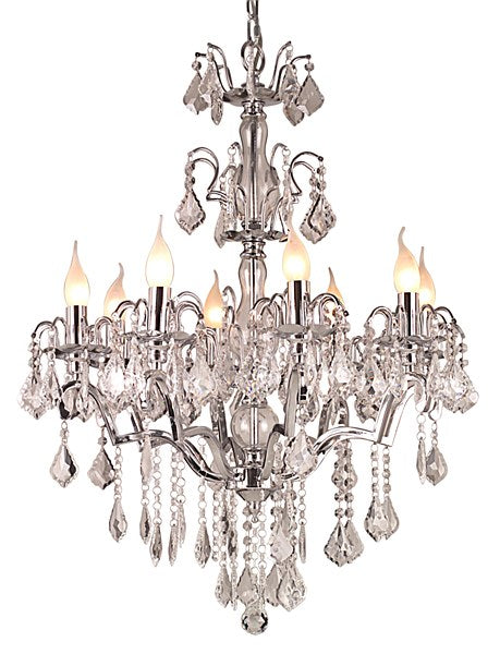 Chrome Chandelier with Crystal Droplets - 8 Arms