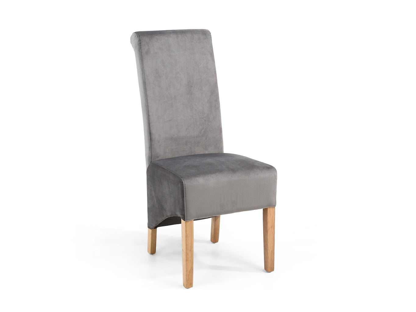 Dining Chair in grey brushed velvet upholstery