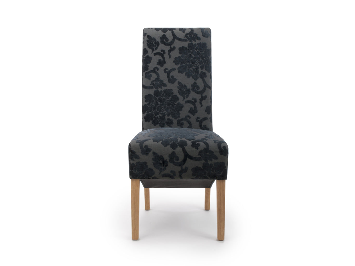 Dining Chairs in black floral velvet upholstery