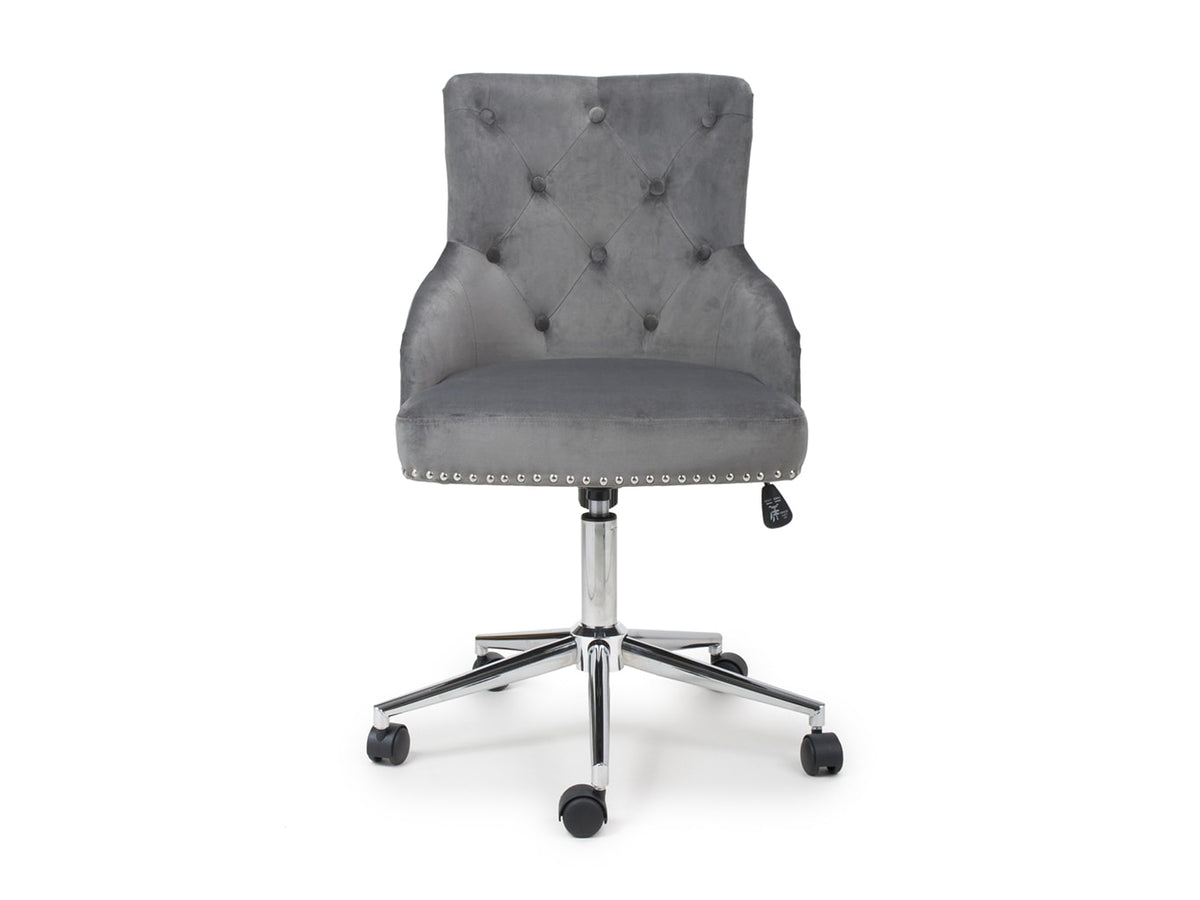 Elegant office chair in grey brushed velvet finish