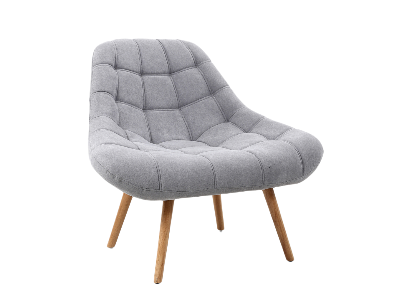 Lounge Chair with grey upholstery on wooden oak legs