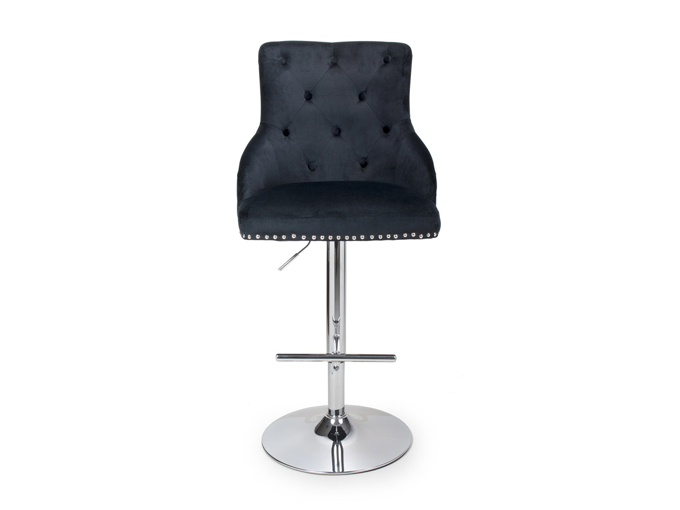 Bar Stool in Black Brushed Velvet