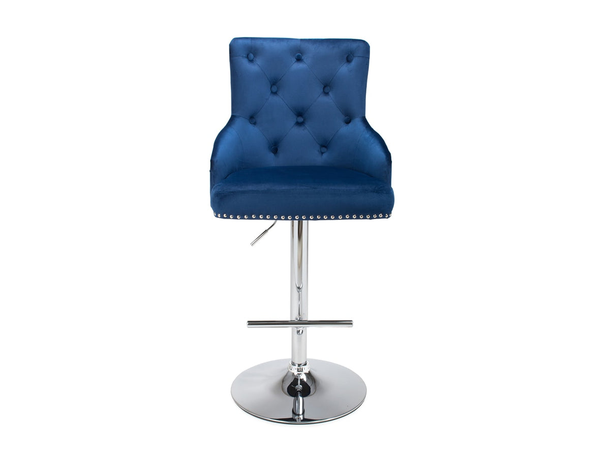 Luxury bar stool with buttoned back seat in blue velvet upholstery