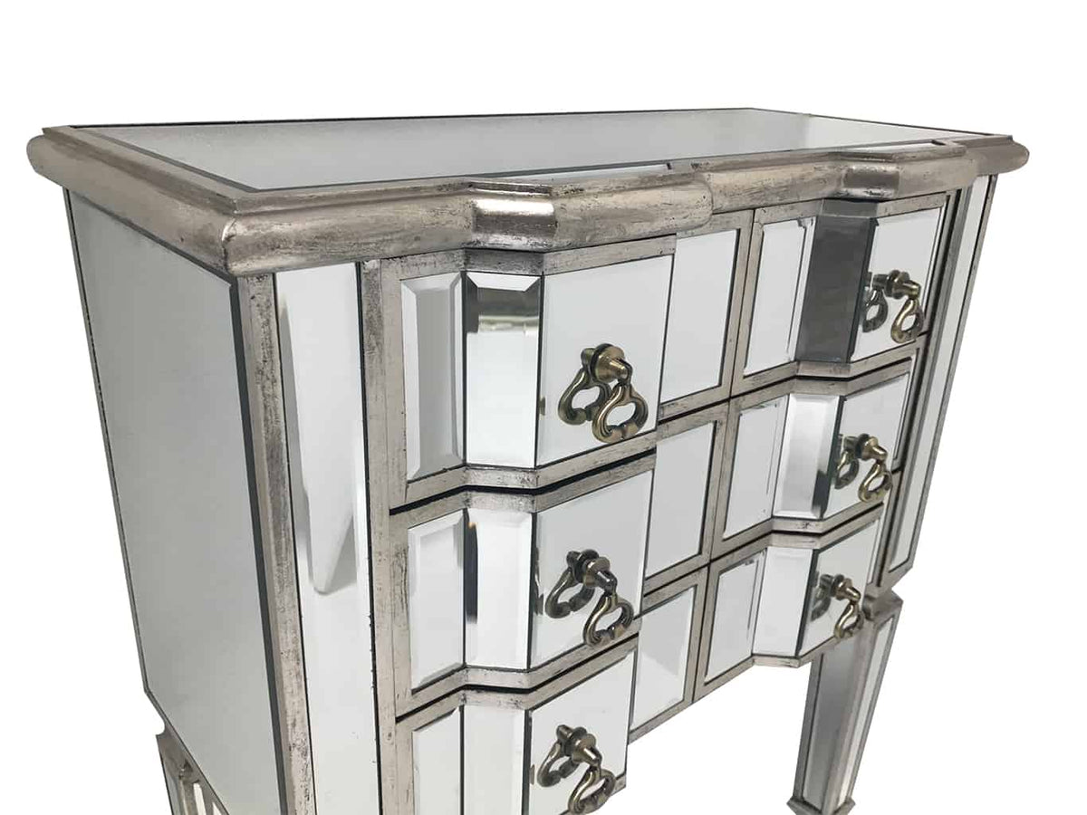 Mirrored Chest of six Drawers in antiqued silver finish