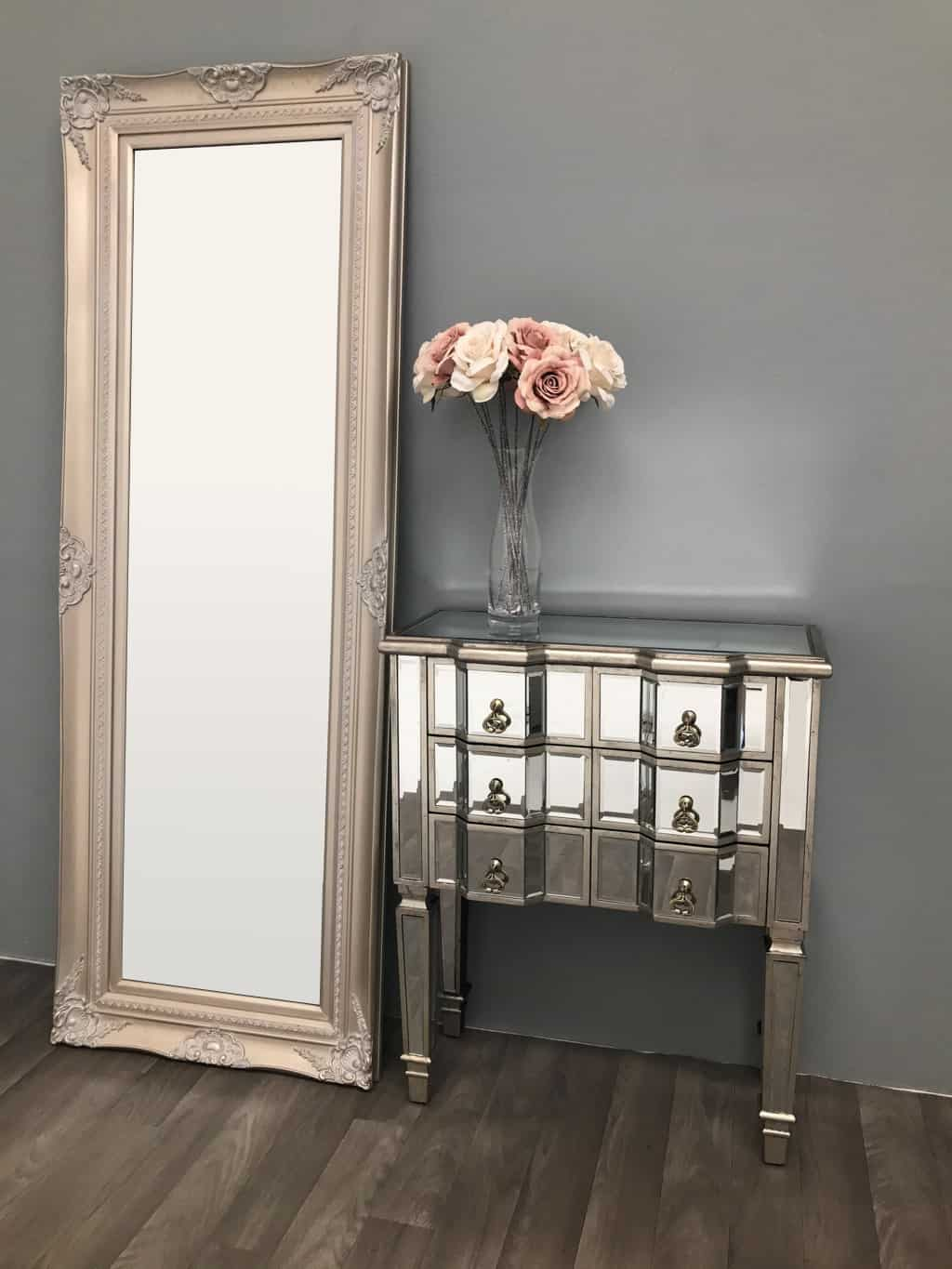 mirrored chest with drawers in sparkle finish, 6 drawers