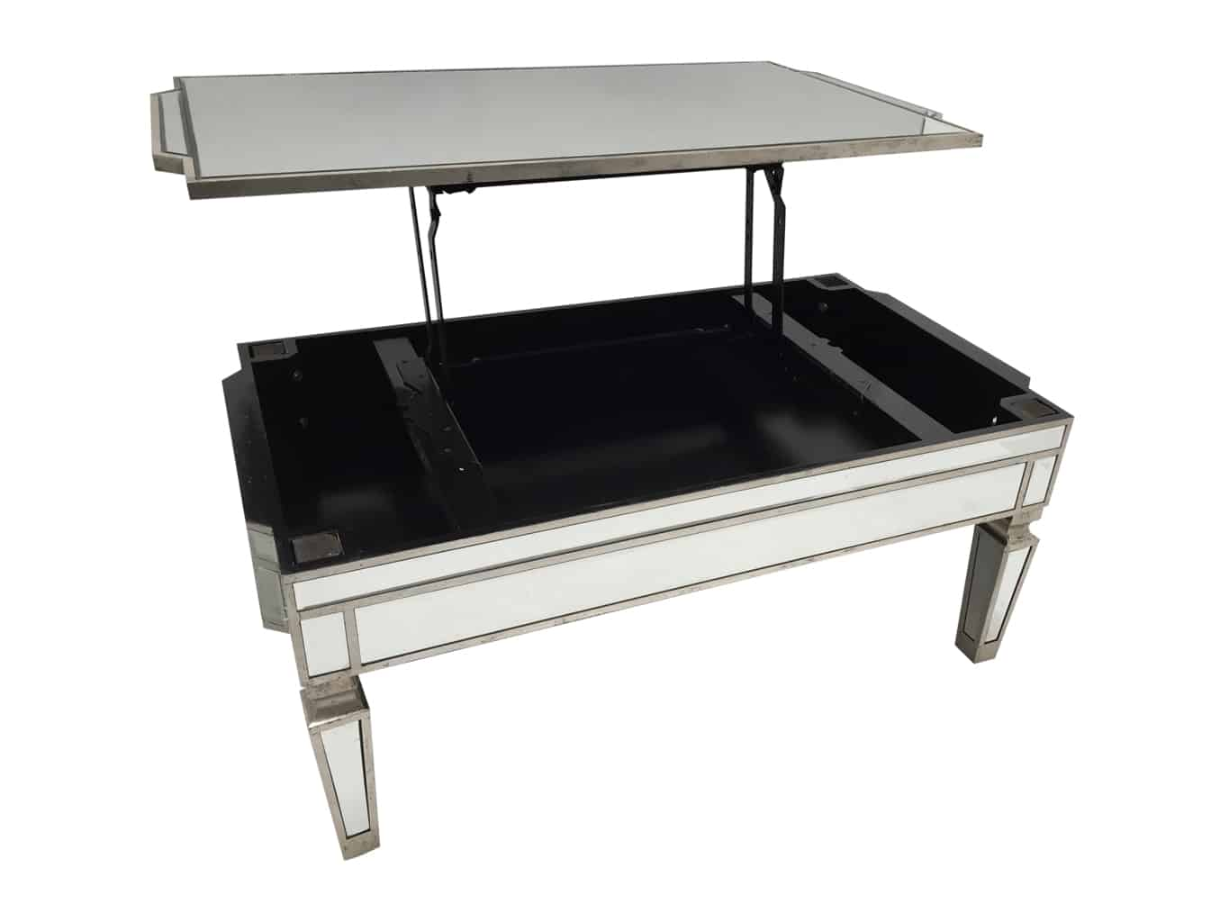 Mirrored coffee table with TV dinner lift