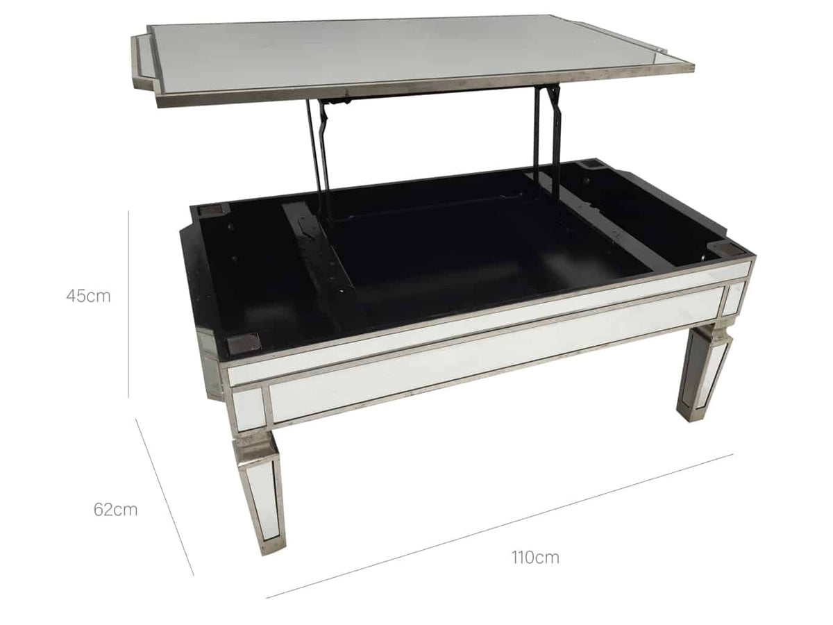 Mirrored coffee table with TV dinner lift dimensions