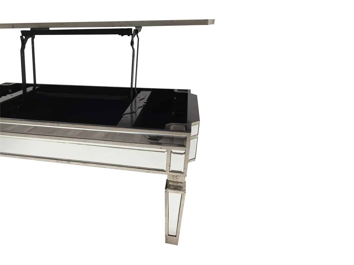Silver Mirrored coffee table with TV dinner lift