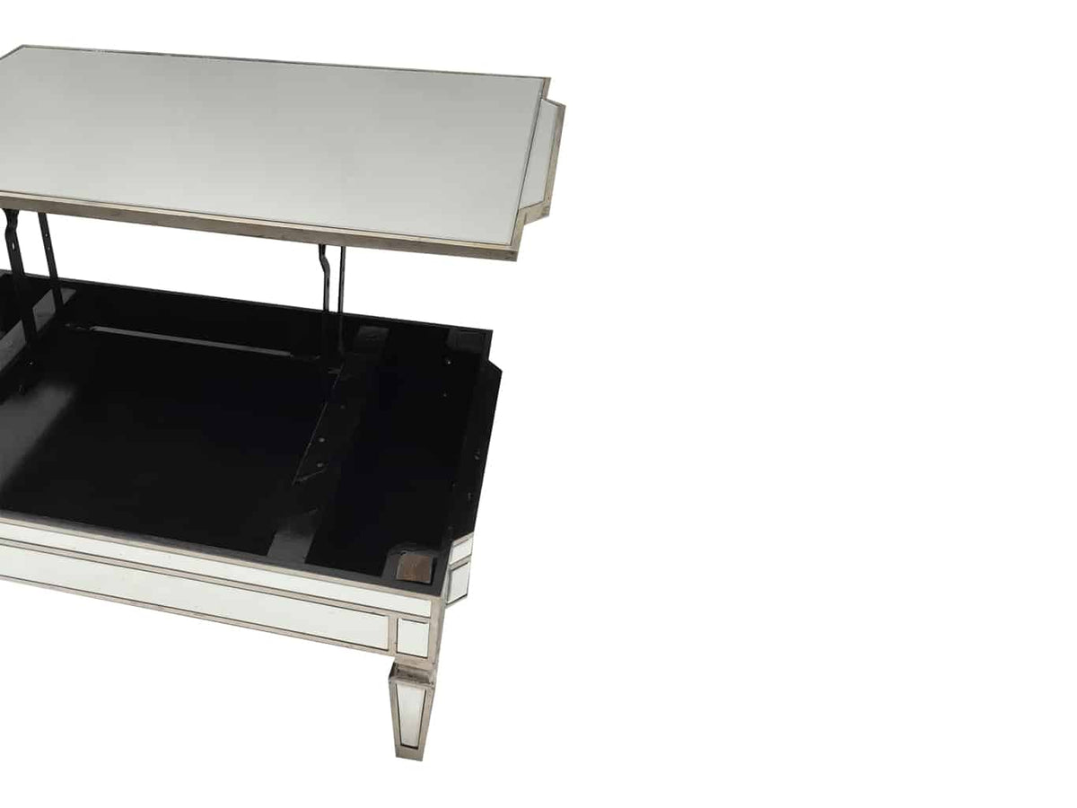 Glass Mirrored coffee table with TV dinner lift
