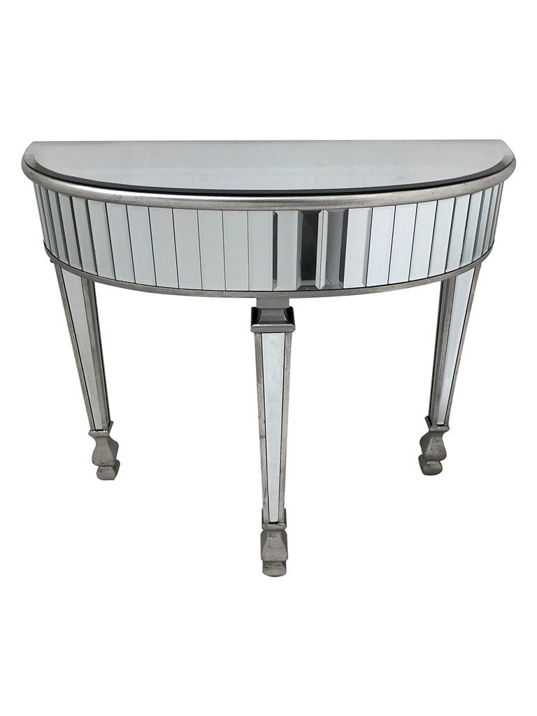 Mirrored Console Table - half moon shape with glass panels