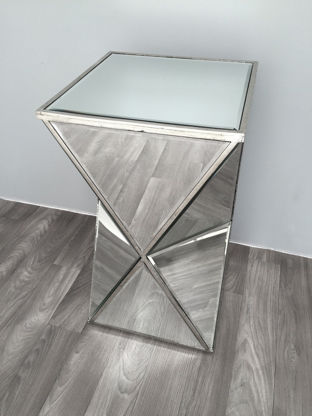 Mirrored Side Table in Hourglass Shape with Triangle Glass panels from Charleston Collection