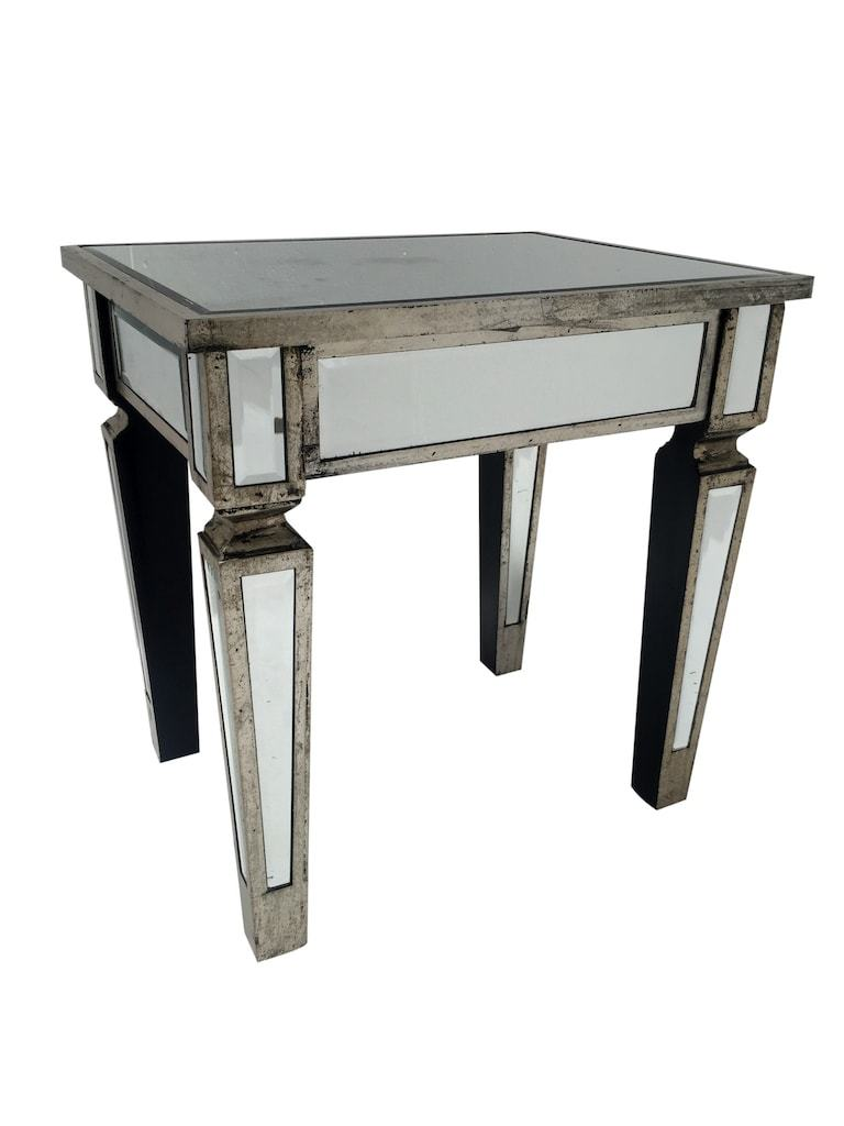 Charleston Mirrored Side Table in silver finish