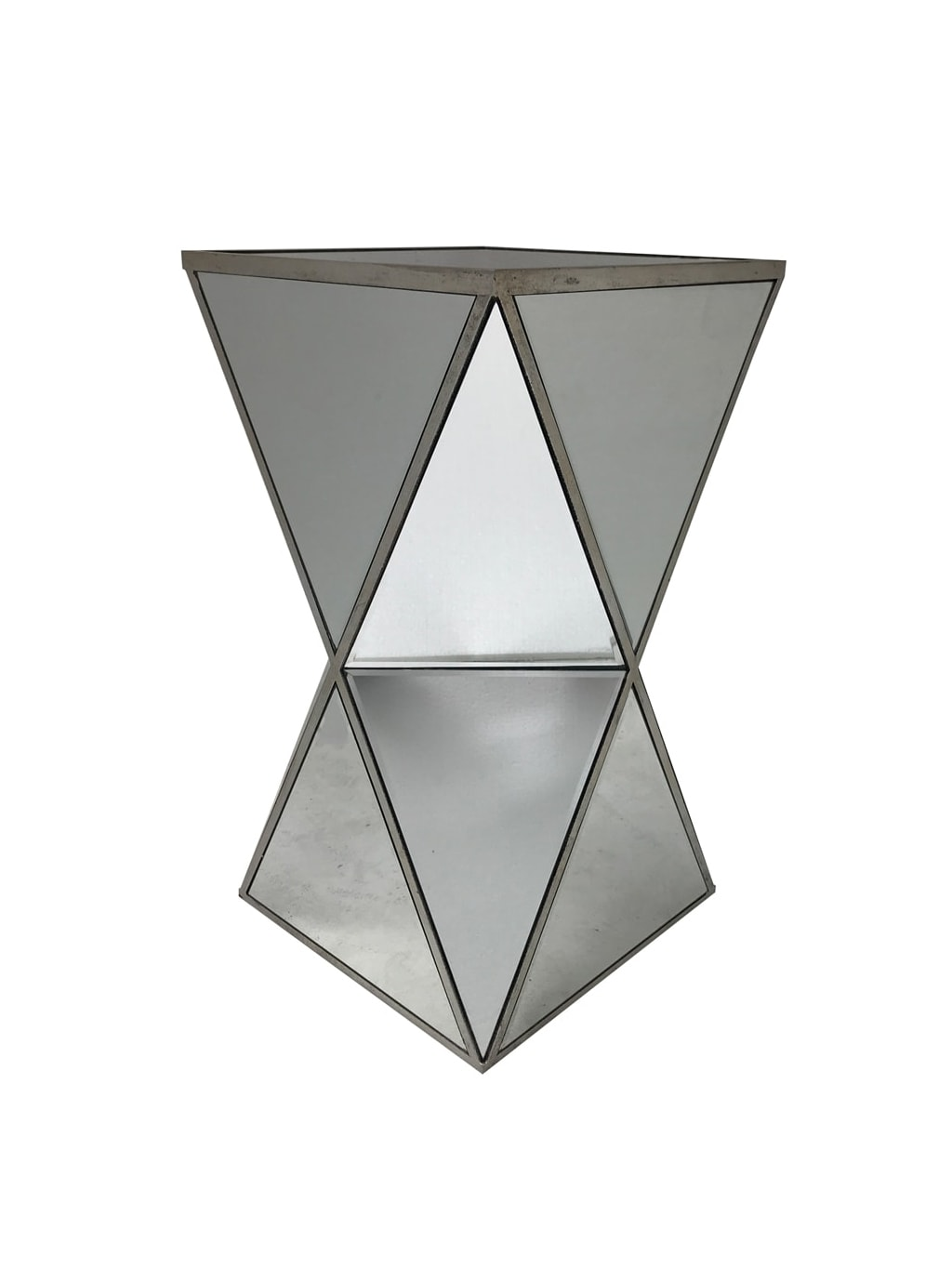 Mirrored Side Table Hourglass Shape