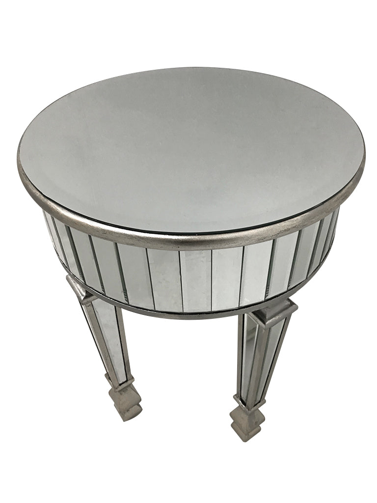 Small Round Mirrored Side Table