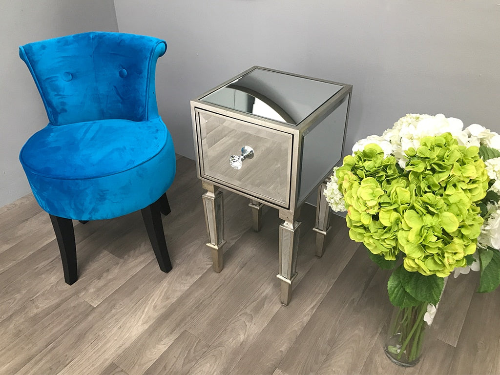 Mirrored Bedside Table with one drawer featuring diamante handle