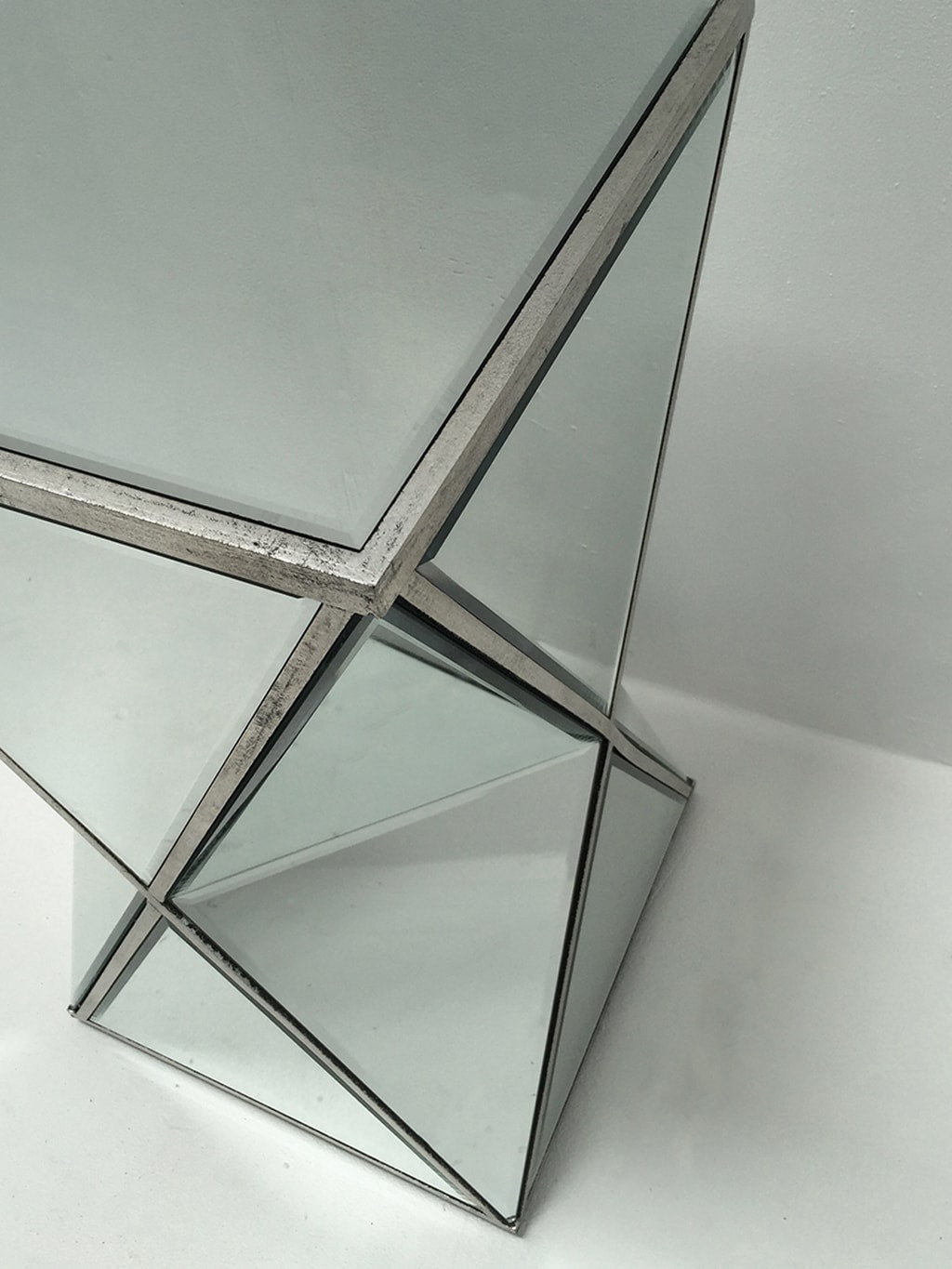 Mirrored Side Table with triangle bevelled glass panels