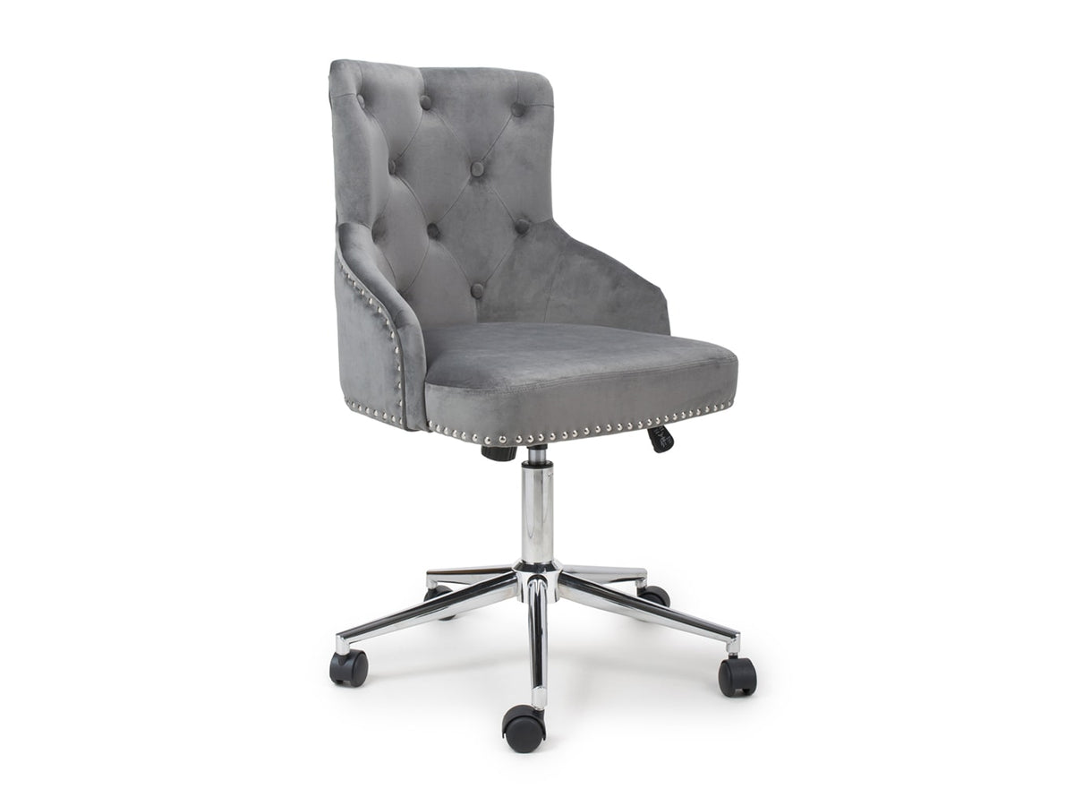 Office chair featuring Buttoned Back in grey colour