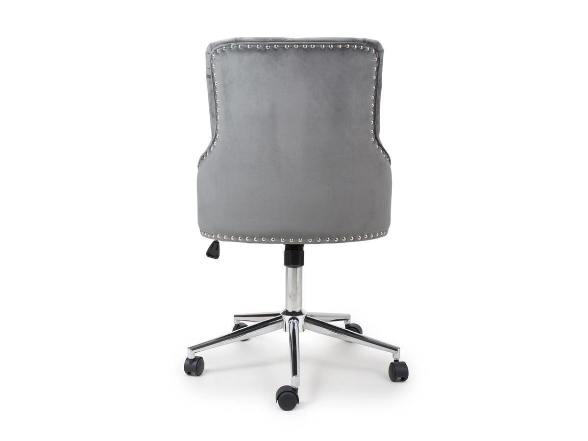 Portable office chair on castors featuring chrome base and grey fabric