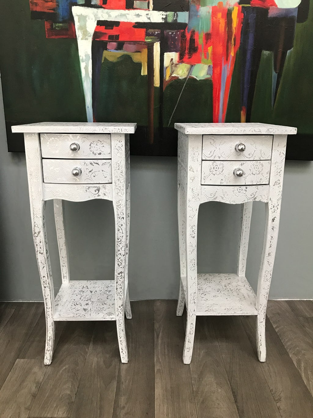 Pair small bedsides hammered metal white