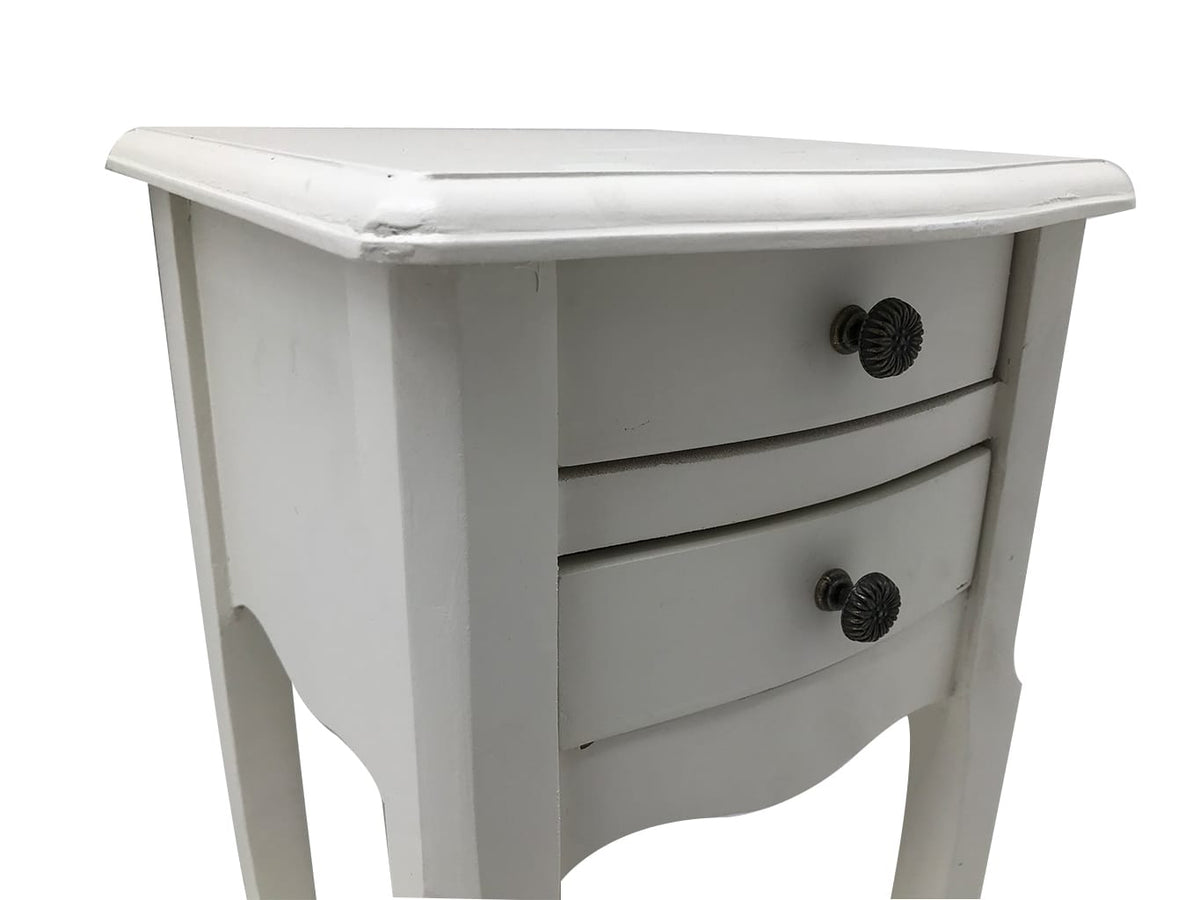 Pair of 2 Drawer Small Wooden Bedside Tables in pale grey