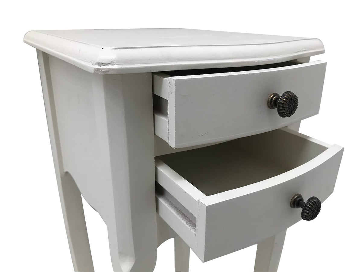 2 Drawer Small Bedside Tables in pale grey