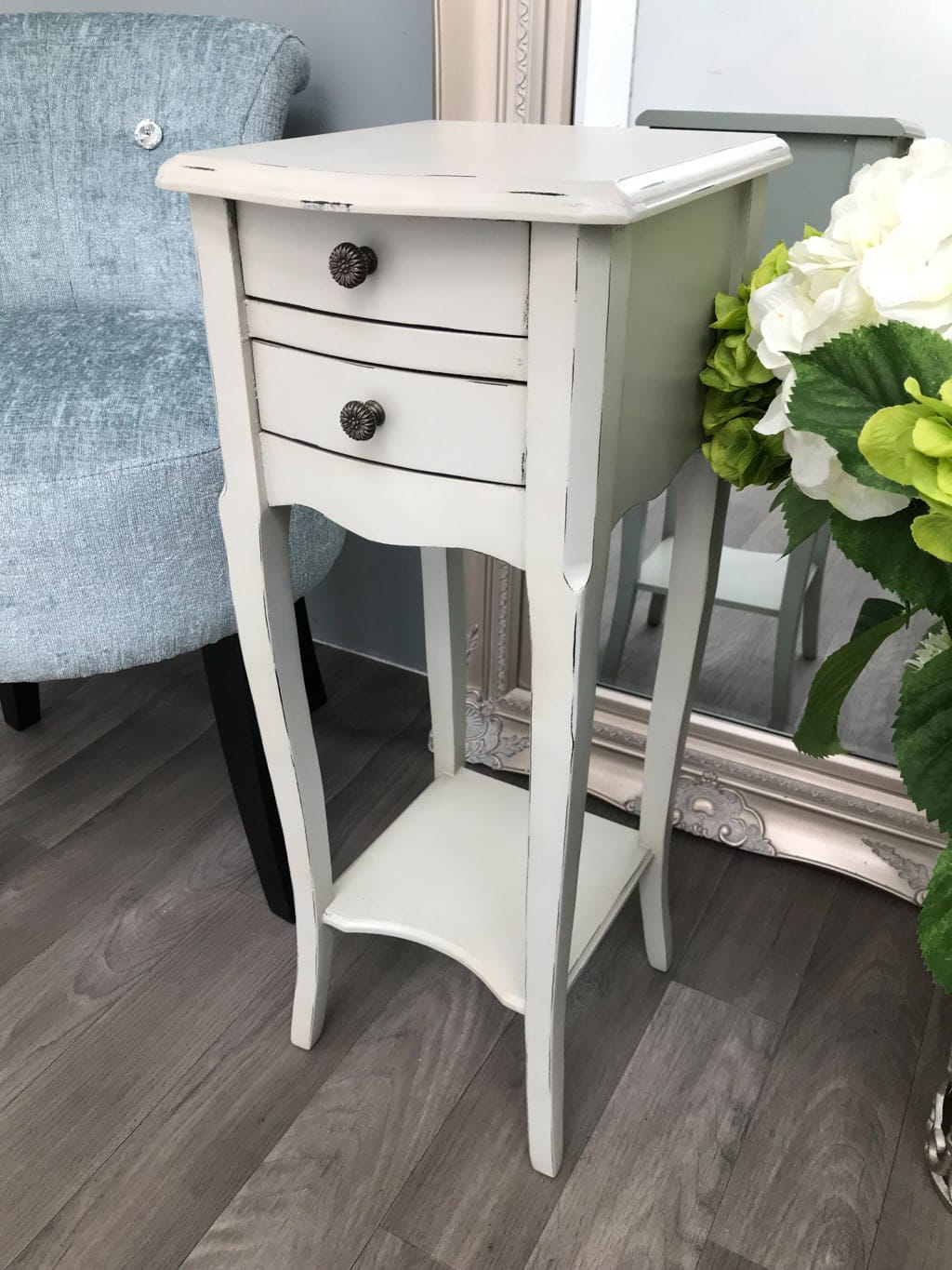 Pair of Small Bedside Tables in pale grey with two Drawers