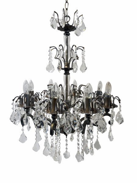 Silver Chandelier with 8 arms featuring crystal drops