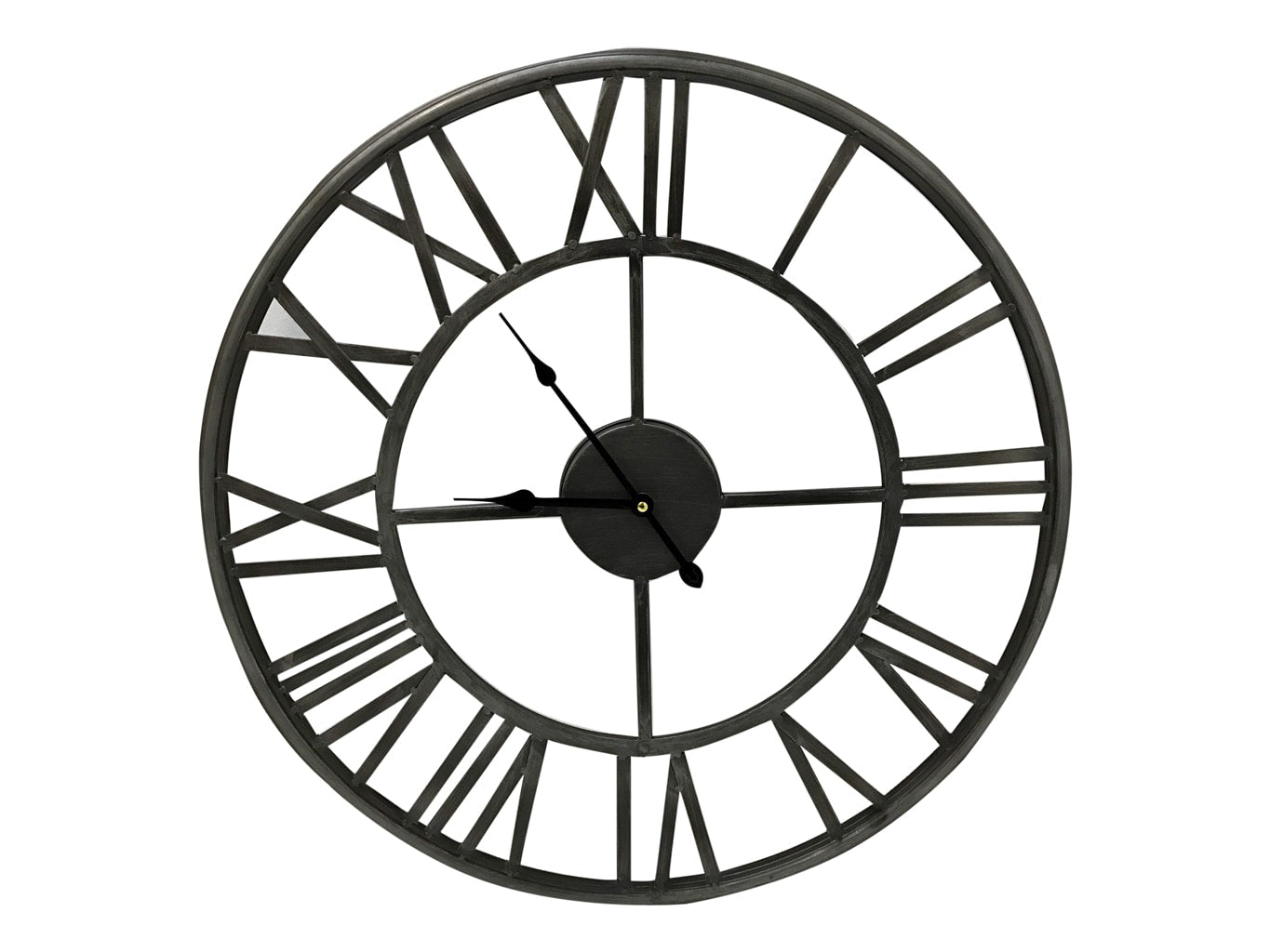 Roman Silver Metal Skeleton Wall Clock