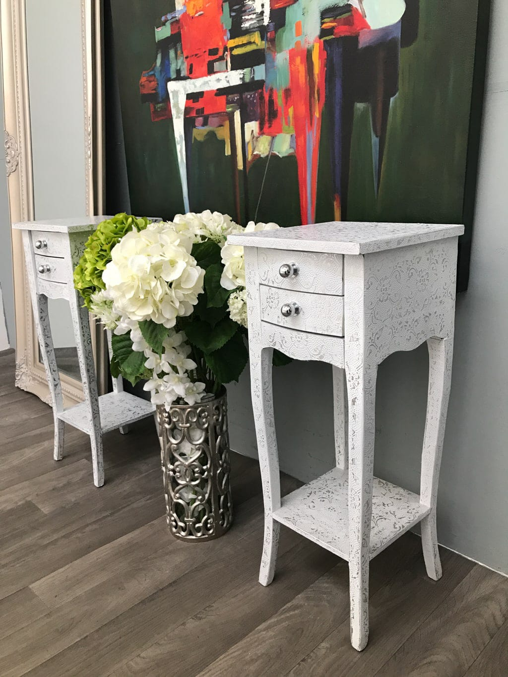 Small bedside tables pair in metal embossed white finish