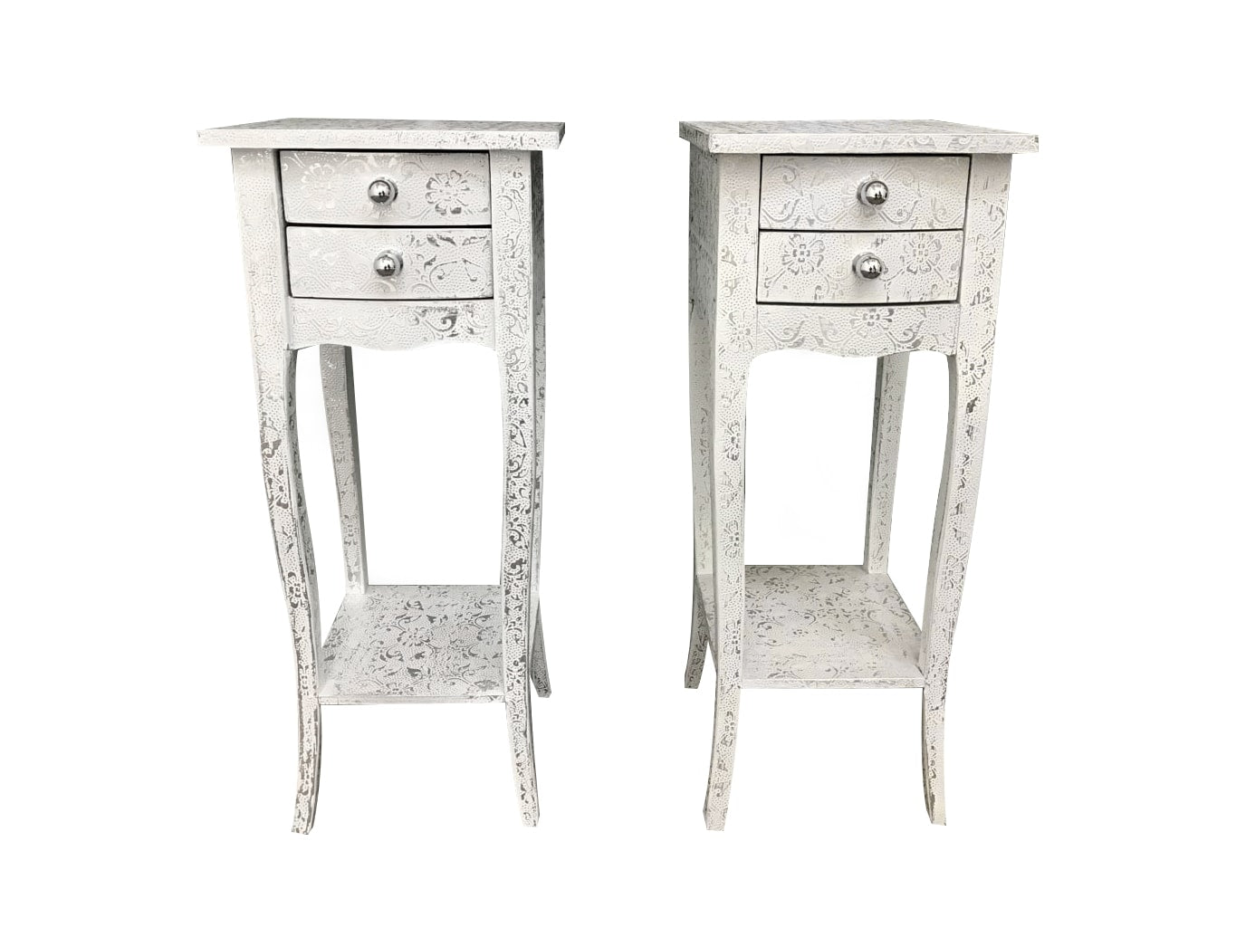 Pair of white slim bedside tables in hammered metal finish