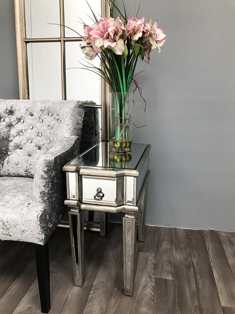 Charleston Mirrored Side Table with Bevelled Glass Panels and a Drawer