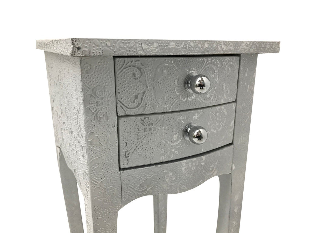 Small narrow bedsides in hammered metal white finish with two drawers
