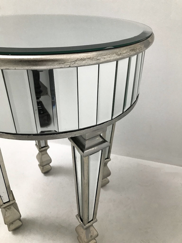 Small Round Mirrored Side Table with glass panels