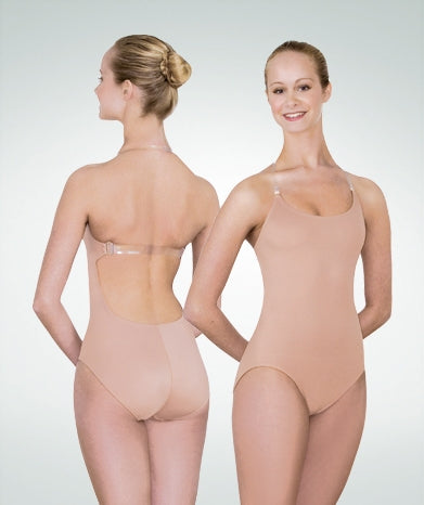 Body Wrappers Girls' totalSTRETCH Nude Leotard with Clear Back Strap