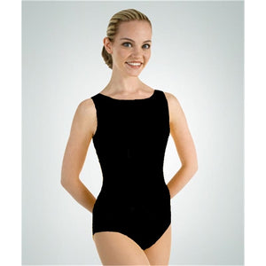 Body Wrappers Plus Size Tank High Neck Leotard - 2X, black