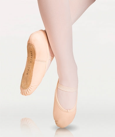 Body Wrappers Full Sole Leather Pleated Ballet Slipper